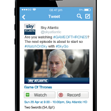 Sky launch remote record from Twitter