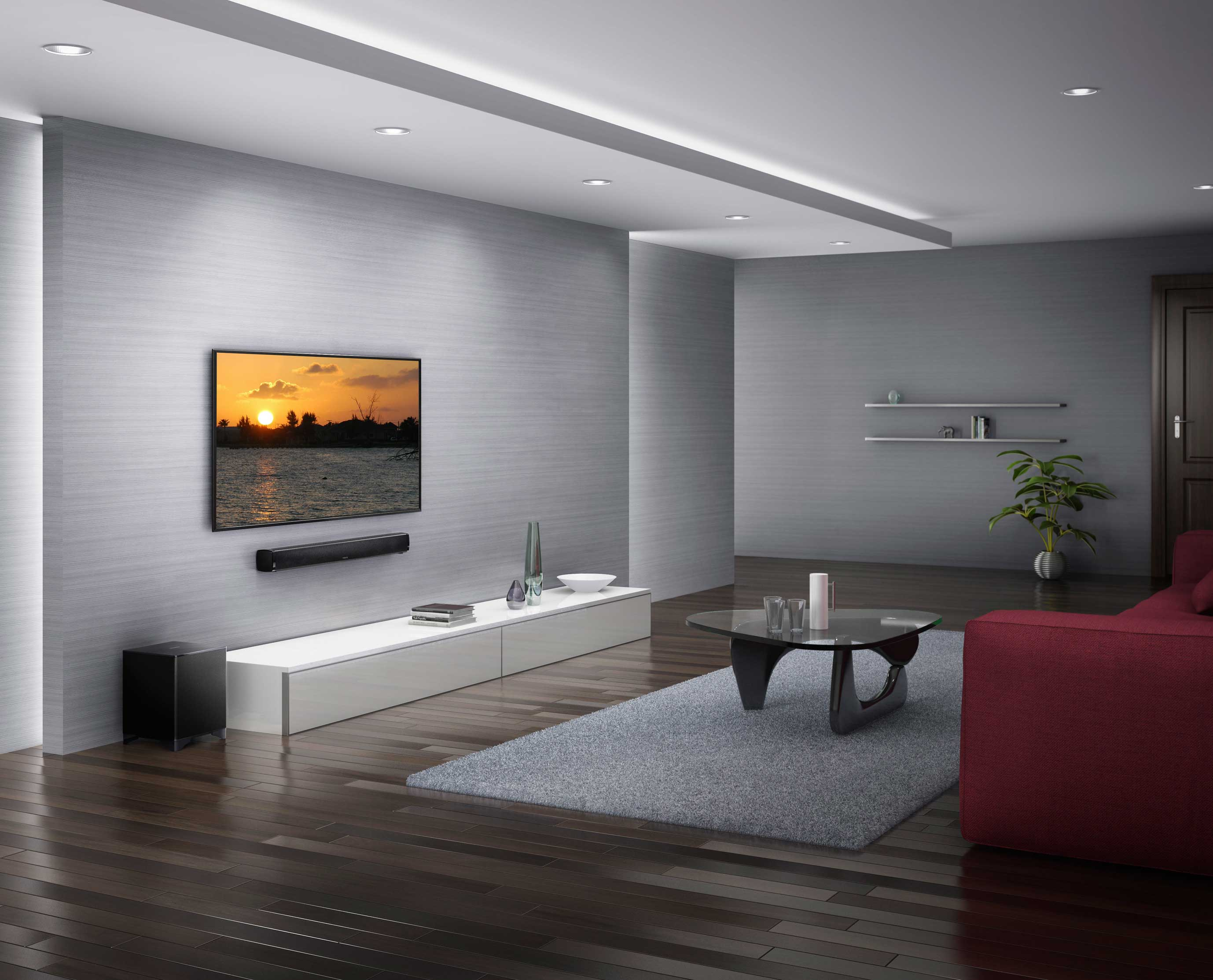 Onkyo aims to improve poor tv sound with soundbar for Wohnzimmer tv wand