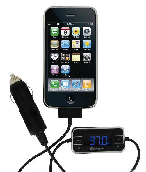 EX156 FM Transmitter and iPhone.jpg