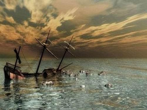 Pirate ship sinking