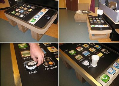 iphone coffee table, complete with app coasters - tech digest