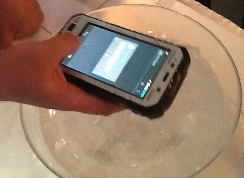 Careful, there's a bowl of ice beneath the device...