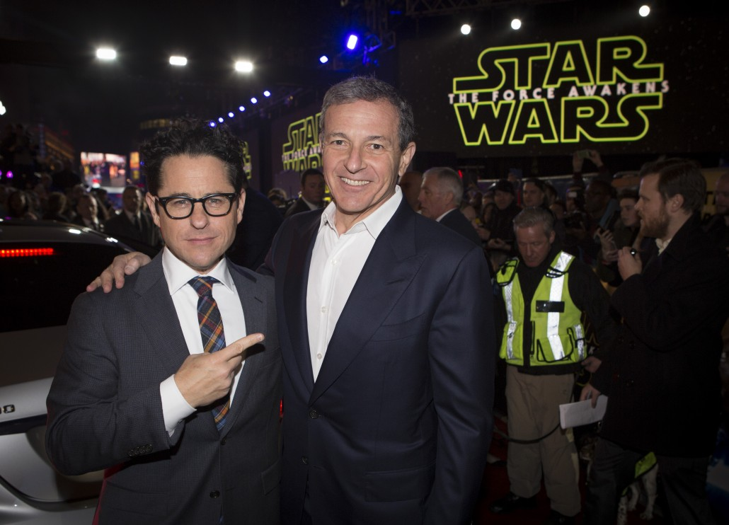 LONDON, UK - DECEMBER 16: Director JJ Abrams and Bob Iger President and CEO of The Walt Disney Company attend the European Premiere of the highly anticipated Star Wars: The Force Awakens in London on December 16, 2015. Credit James Gillham / StingMedia