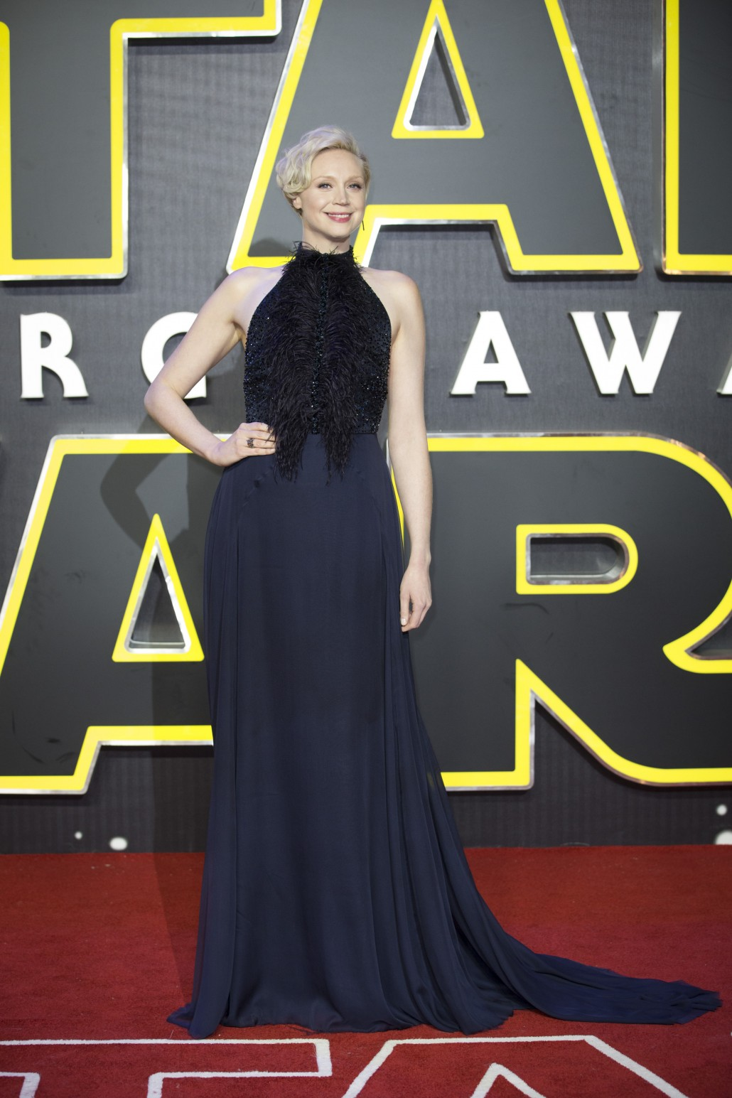 LONDON, UK - DECEMBER 16: Actress Gwendoline Christie attends the European Premiere of the highly anticipated Star Wars: The Force Awakens in London on December 16, 2015.