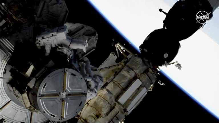Astronauts take spacewalk to swap International Space Station's batteries